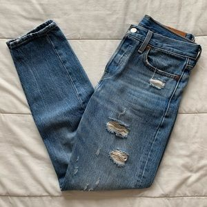 Levi's High Waisted Distressed Jeans